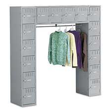 Tennsco Sixteen Box Compartments and Coat Bar 72w x 18d x 72h Medium Gray