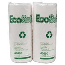 Wausau Paper EcoSoft Household Roll Towels 11 x 9 White 100/Roll 30 Rolls/Carton