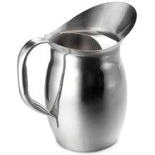 Tablecraft 18/8 Stainless Steel Mirror Finish Bell Water Pitcher with Ice Guard 2 1/8 Quart
