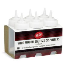 Tablecraft Cash and Carry Red Wide Mouth Squeeze Dispenser 8 Ounce