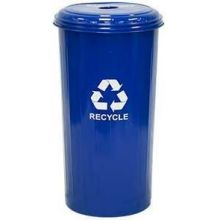 Witt Industries Geo Cube Dark Blue Steel Tall Round Recycling Waste Basket and Top 16 x 30 inch