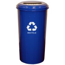 Witt Industries Geo Cube Dark Blue Steel Tall Round Recycling Waste Basket with 8 inch Slot Opening 16 x 30 inch