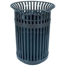 Witt Industries Steel Waste Receptacle with Metal Flat Top Lid and Plastic Liner 28.25 x 39 inch