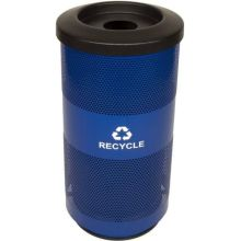 Witt Industries Post Office Blue Steel Recycling Trash Receptacle 15.5 x 31.5 inch