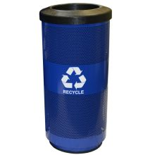 Witt Industries Post Office Blue Steel Recycling Trash Receptacle - Slot Opening 15.5 x 31.5 inch
