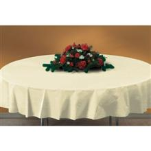 Hoffmaster Round White Plastic Table cover 84 inch