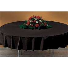 Hoffmaster Round White Kwik 60 inch Plastic Table Cover with Elastic Edge