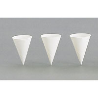 Paper Cone Water Cups - 4 Oz. Rolled Rim Unprinted