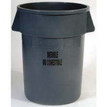 Food Processing Containers Inedible Imprint 44 Gallon Round All-Plastic Professional-Grade Construction