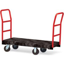 Black Standard Platform Truck 6 inch dia x 2 inch wide rubber casters two crossbar handles