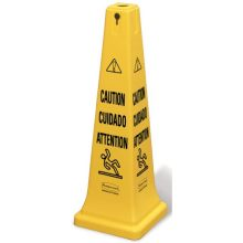 Safety Cone Multi-Lingual Caution Imprint - Highly Visible Bright Yellow Hazard Protection System