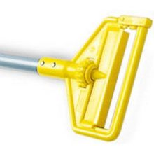 Side Gate Wet Mop Handle Large Yellow Plastic Head Gray Aluminum Handle 54 Inch Length