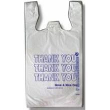 Inteplast 12Microns 11.5X6.5X21 White Thank You Print T-Sack Bags
