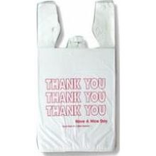Inteplast 12.5Microns 9X6X18 White Thank You Print T-Sack Bags