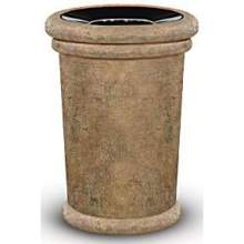 Milan Fiberglass Large Open Top Ash and Trash Receptacle 37 Gallon 27.5 inch Diameter 36.25 inch Height
