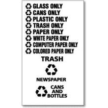 White Letters CANS AND BOTTLES Decal 8.75 inch Width 3.5 inch Height for Recyclable Waste Receptacle