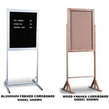 Double Pedestal Enclosed CorkBoard with Wood Frame. Size 24 x 36 inch. Overall Height 70 inch