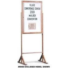 Fabric - Grey(GR) Wood Enclosed Double Pedestal Easy Tack Board 24 x 36 in Overall height (enclosed) 70 in Overall height (open face) 58 in