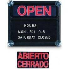 Polyethylene Open/Closed Sign Boards 3/4 in White Helvetica character set included Size 14 x 12 in