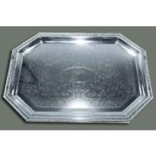 Winco Chrome Plated Octagonal Serving Tray 17 x 12 1/2 inch