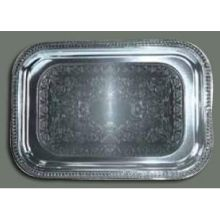 Winco Chrome Plated Oblong Serving Tray 18 x 12 1/2 inch