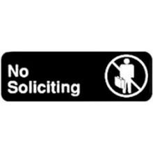 Winco Black No Soliciting Information Sign with Symbol 3 x 9 inch