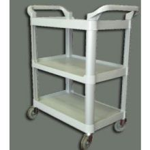 Black Winco 3 Tier Utility Cart, 33 1/4 x 17 x 37 1/2 inch