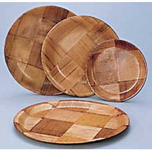 Woven Wood Round Plate 10in