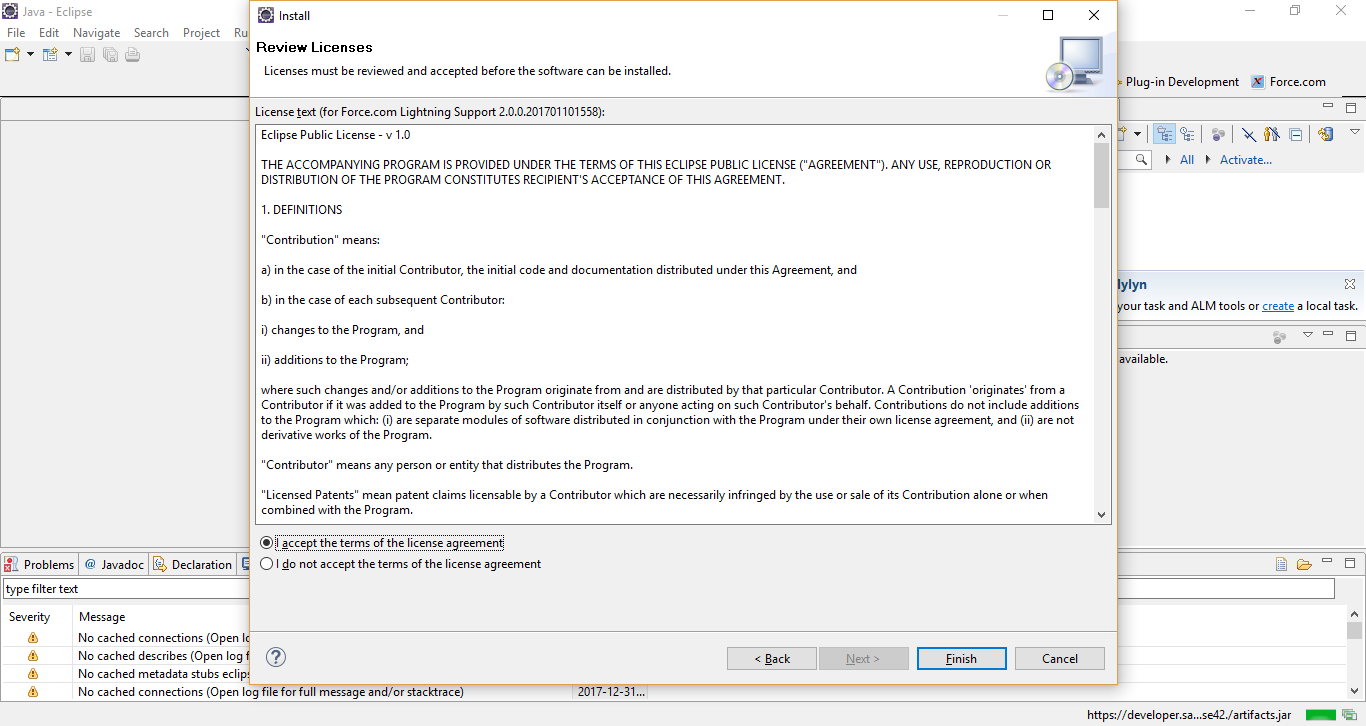 In the Review Licenses dialog