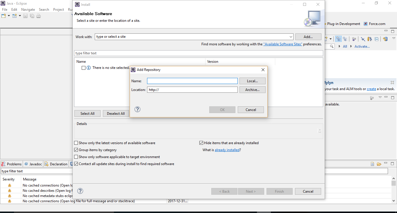 Salesforce | Steps to Install the Force com IDE Plug-In in Eclipse