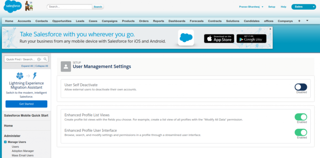 Enable Profile UI