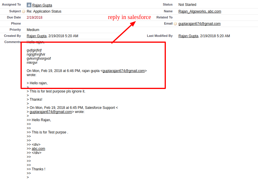 Task Re Application Status Salesforce Developer Edition