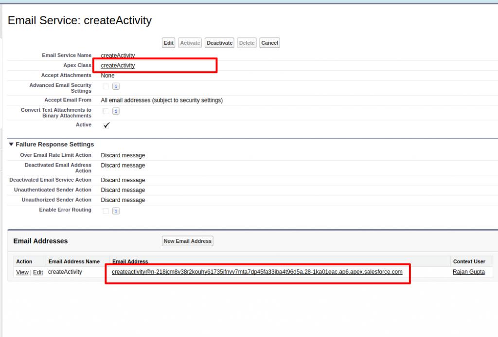 Email Service Salesforce Developer Edition