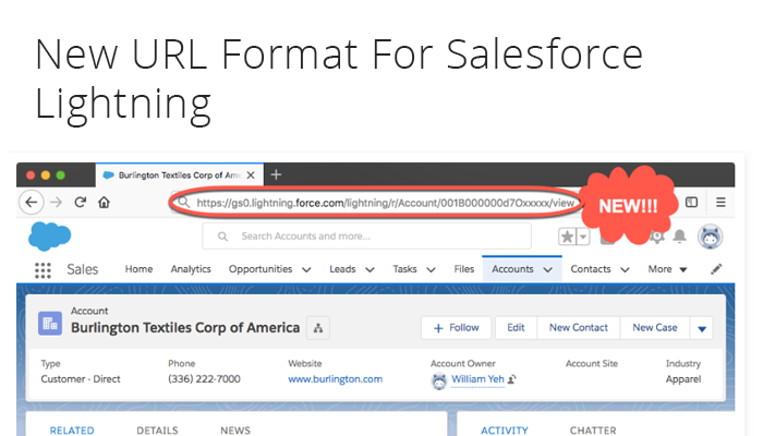 New URL Format For Salesforce Lightning