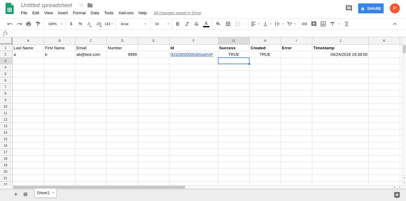 Salesforce | Pushing Google Sheet data into the Salesforce database