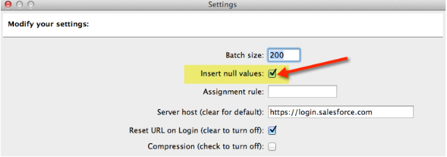 Salesforce | How to insert null values into dataloader