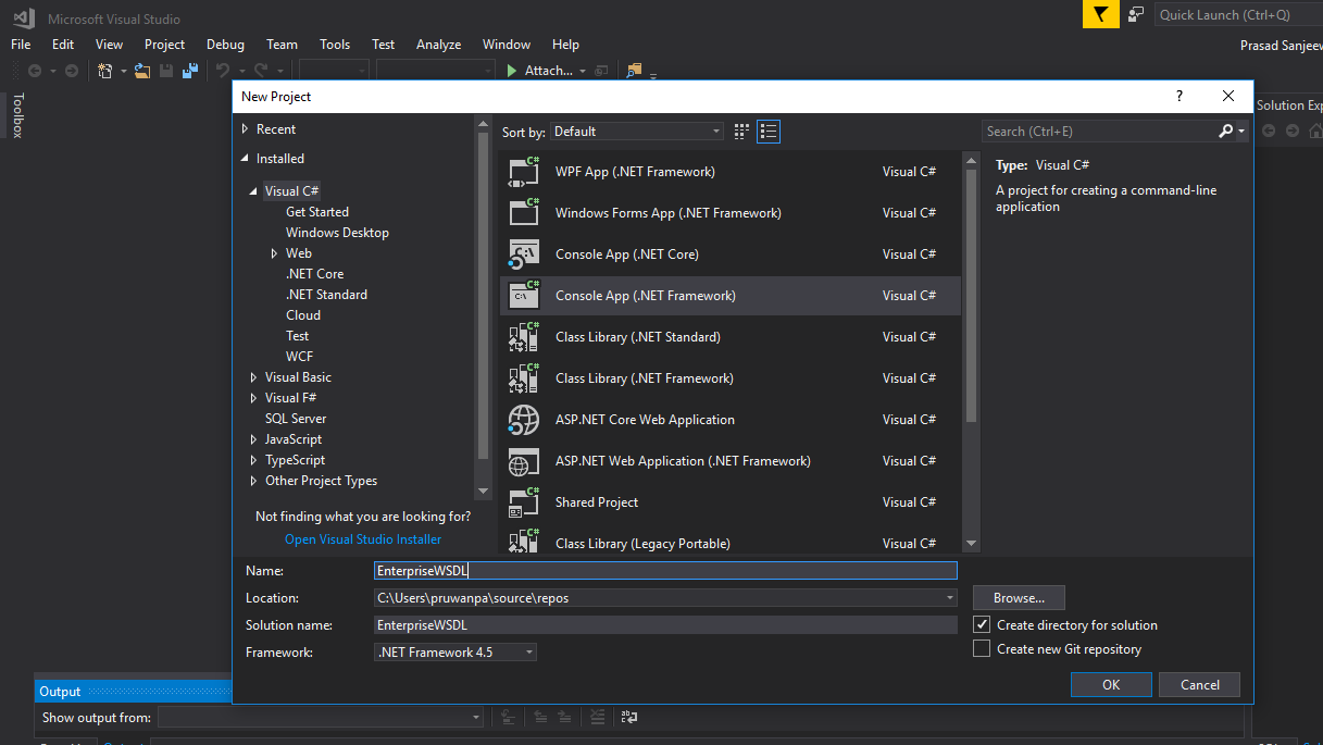 Create a console application from Visual studio