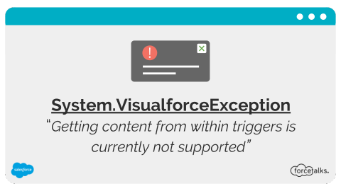 System.VisualforceException: Getting content from within triggers is currently not supported
