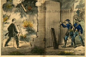 Pencil (color) drawing of assassin John Wilkes Booth standing in a tobacco barn that has been set on fire by U.S. Marshalls who point rifles through slits in the doors.