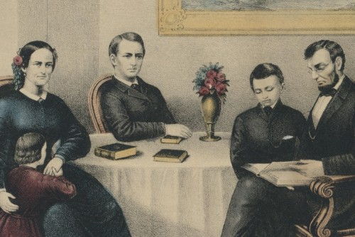 Painted portrait of Lincoln and his family seated at a table with books.