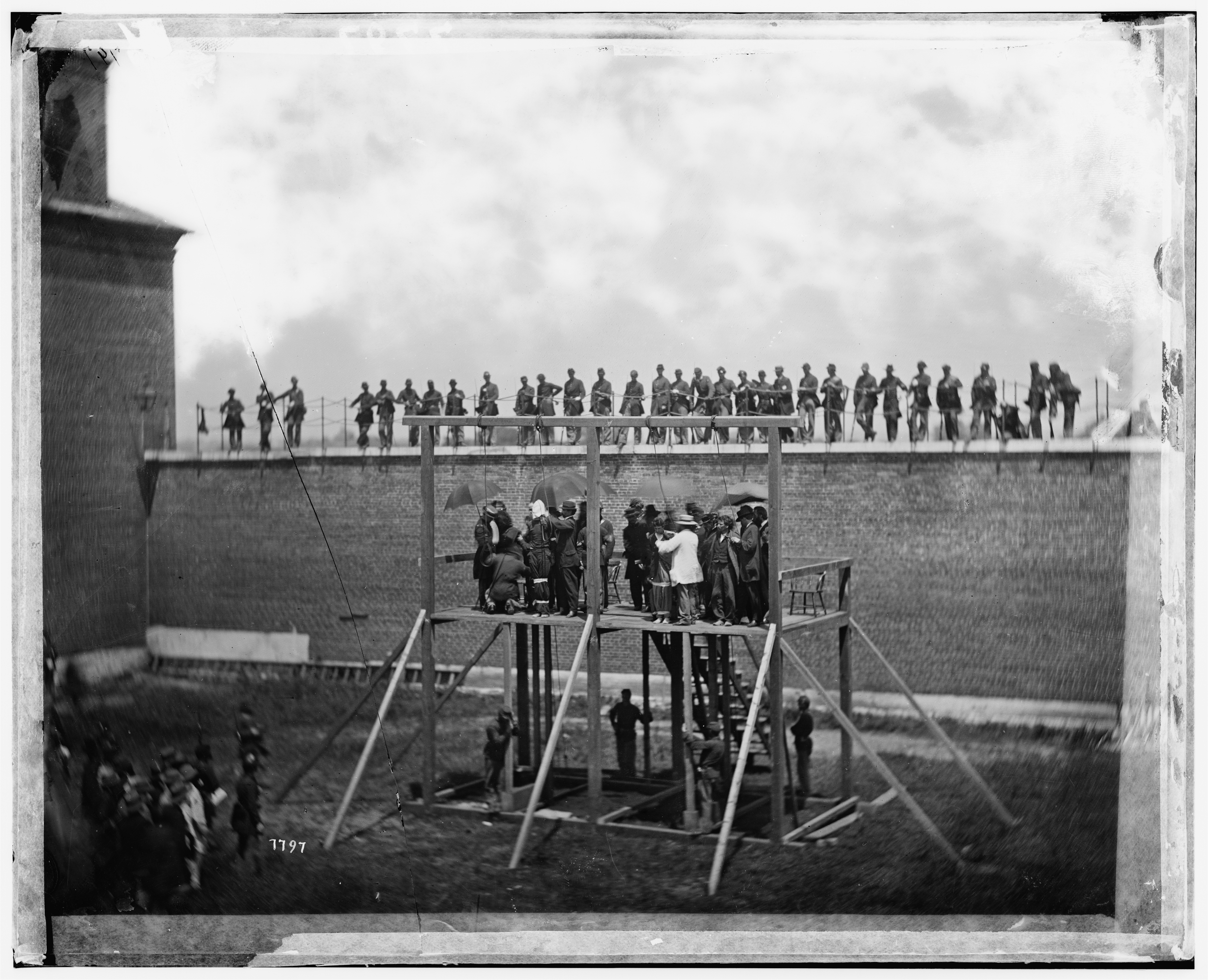 Library of Congress photo of the Lincoln assassination conspirators on the platform just before being hanged in Washington, D.C., in spring 1865.