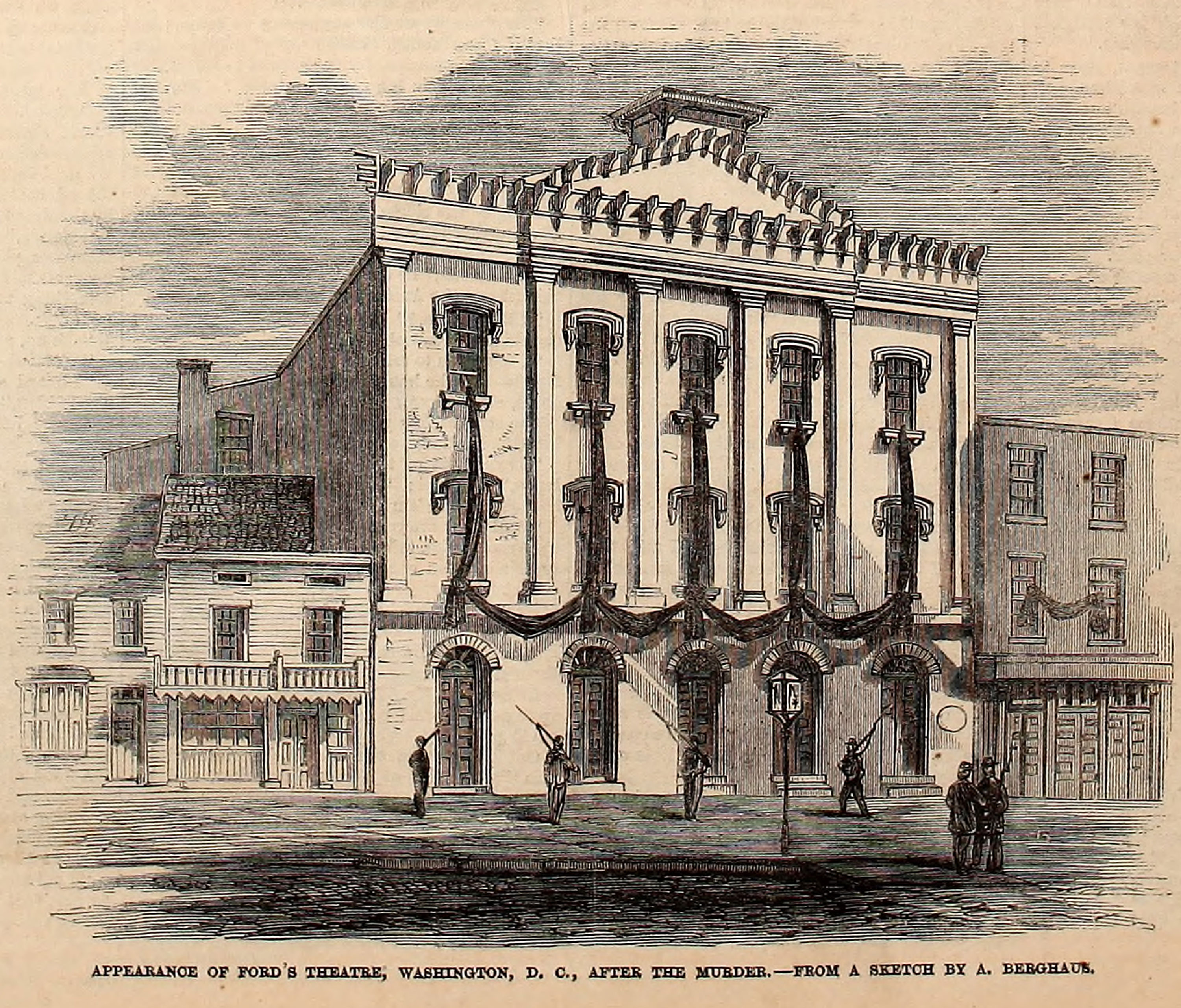 Illustration of Ford's Theatre with wide swaths of black fabric draped between its windows, in mourning the death of President Abraham Lincoln.