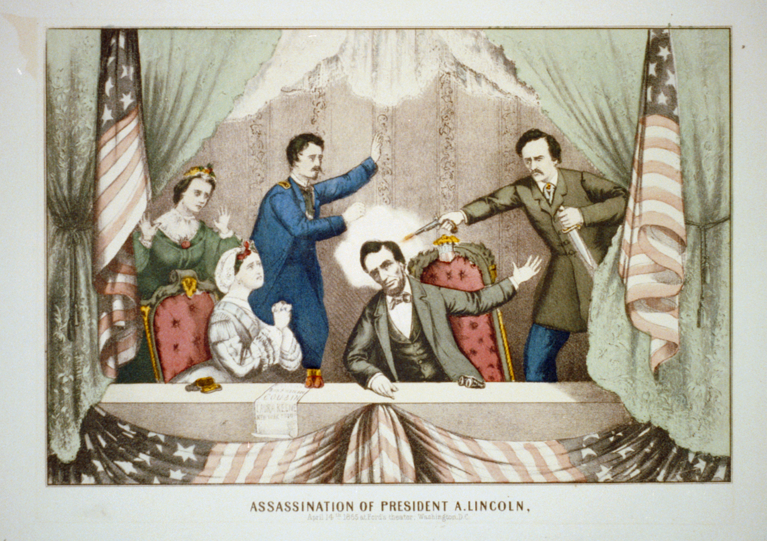 Print shows the president's box at Ford's Theater with John Wilkes Booth, on the right, shooting President Lincoln who is seated at the front of the box; on the left are Mary Todd Lincoln seated in the front, Major Henry Rathbone rising to stop Booth, and Clara Harris standing behind Mrs. Lincoln.