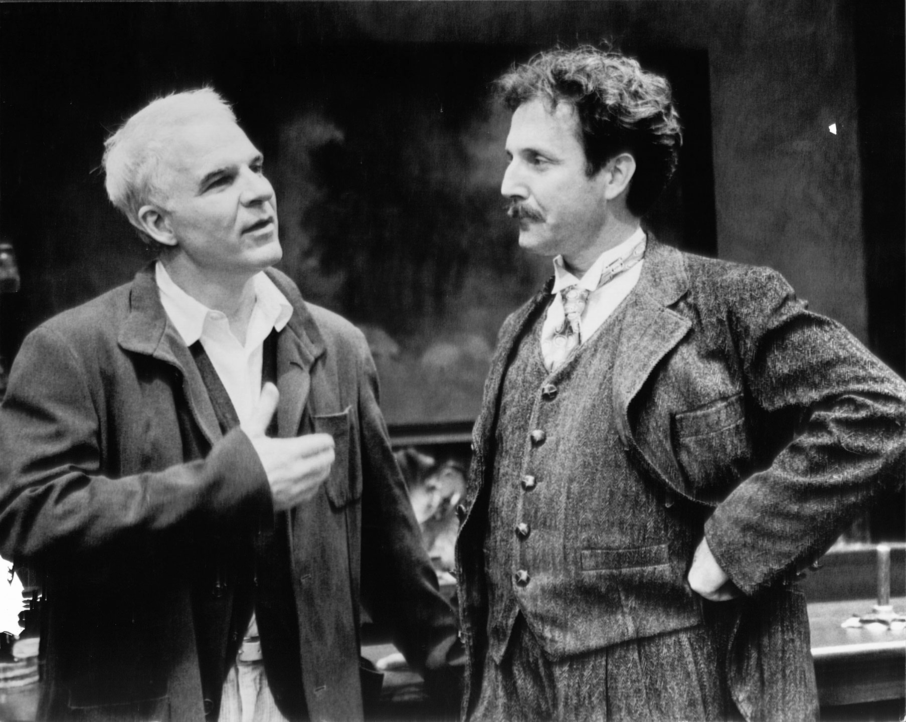 "Actor/director/playwright Steve Martin speaks with actor Dan Hiatt on set at Ford's Theatre. Martin is playwright of ""Picasso at the Lapin Agile"" on stage at Ford's in 1998."