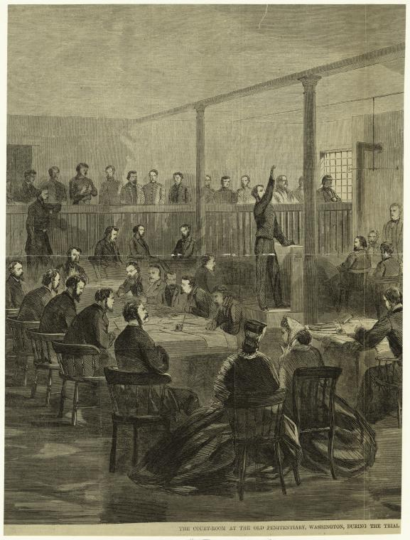 "Art and Picture Collection, The New York Public Library. ""The Court-Room At The Old Penitentiary, Washington, During The Trial [Cut Off]."" The New York Public Library Digital Collections. 1865. http://digitalcollections.nypl.org/items/510d47e1-0d2f-a3d9-e040-e00a18064a99"