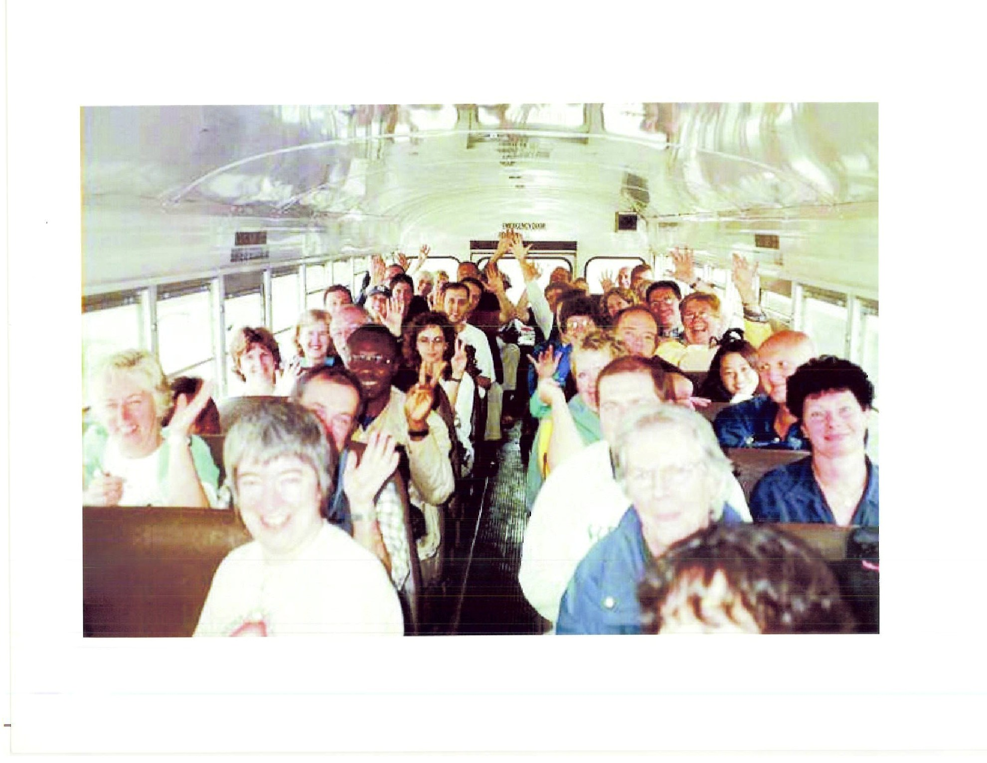 Fellow passengers of Beard and Ross on a school bus. Photo courtesy Bob Beard and Richard Ross.