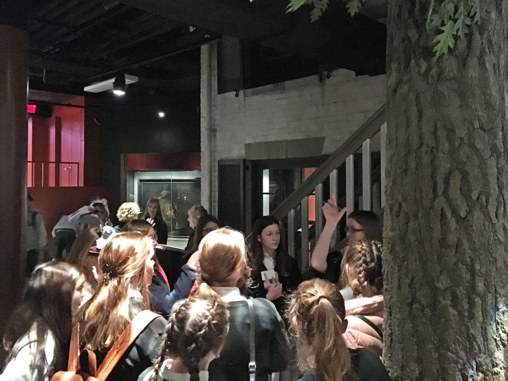 A group of 10+ students provide feedback to Ford's staff in the Ford's Theatre museum.