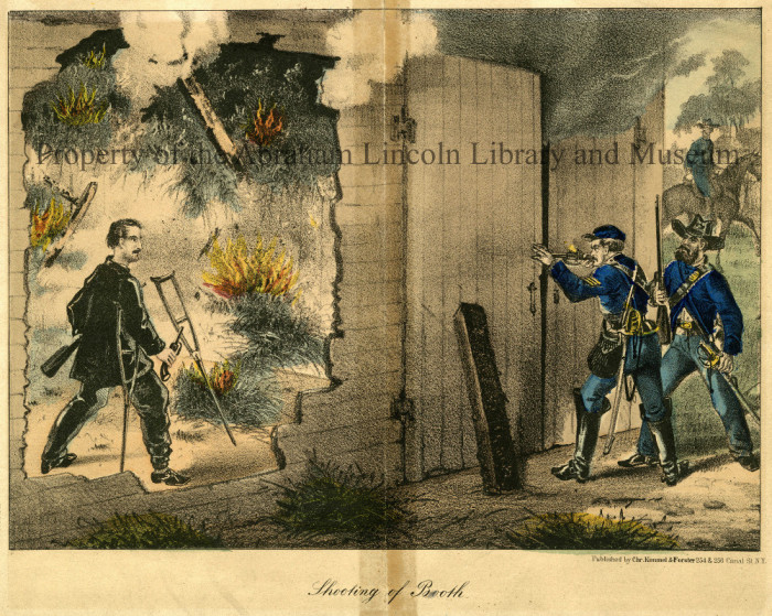 Depiction of Sergeant Boston Corbett killing John Wilkes Booth with a rifle shot. The barn where Booth is hiding is set on fire.
