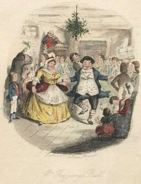 "Mr. Fezziwig's Ball, by John Leech, from the 1843 edition of ""A Christmas Carol."" Project Gutenberg via Wikimedia Commons."