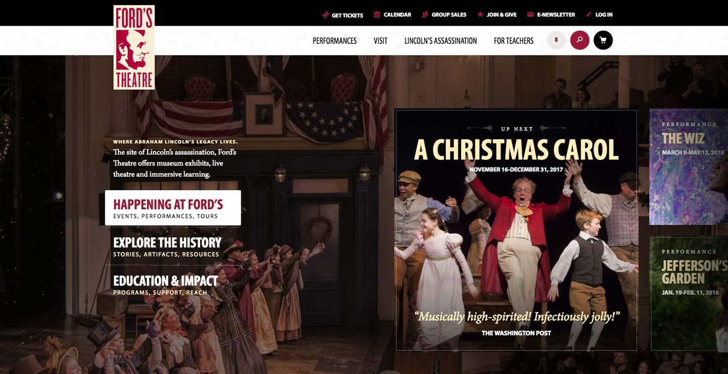 Image of the modern-day (2018) Ford's Theatre website.